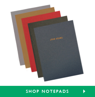 Customizable Notepads: Available in Red, Navy, Chino, Smoke and Charcoal